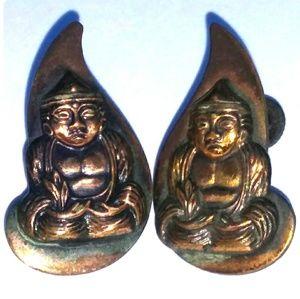 '40s VINTAGE Solid Copper Buddha ScrewBacks SIGNED